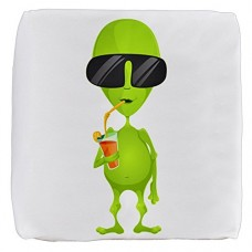 13-Inch-6-Sided-Cube-Ottoman-Little-Green-Alien-Sipping-a-Drink-0