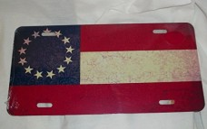 13-Star-Confederate-Stars-and-Bars-Grunge-Style-Flag-License-Plate-6-X-12-Inches-New-Aluminum-0