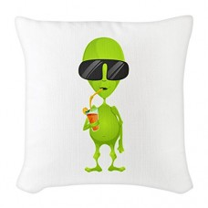 Burlap-Throw-Pillow-Little-Green-Alien-Sipping-a-Drink-0