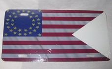 Civil-WAR-35-Star-Cavalry-Guidon-Flag-License-Plate-6-X-12-Inches-New-Aluminum-0