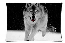 Gray-Wolf-Style-Pillowcase-Cover-20x30-one-side-Cotton-Pillow-Case-0