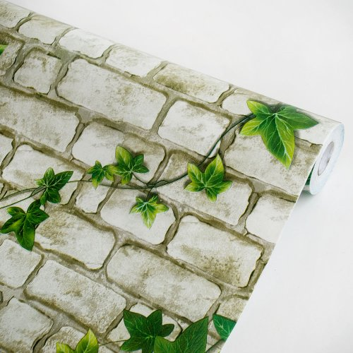 Ivy wall gray vinyl self adhesive wallpaper prepasted for Pre adhesive wallpaper
