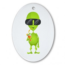 Ornament-Oval-Little-Green-Alien-Sipping-a-Drink-0