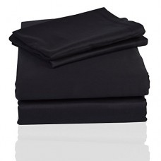 PrasadCollections-Tailored-Finish-100-Egyptian-Cotton-King-600TC-Black-Solid-Beautiful-1PCs-WaterBed-Fitted-Sheet-SolidPocket-Size-14-inches-0
