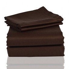 PrasadCollections-Tailored-Finish-100-Egyptian-Cotton-King-600TC-Chocolate-Solid-Beautiful-3PCs-Fitted-Sheet-SolidPocket-Size-23-inches-0