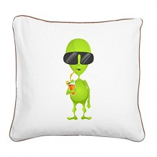 Square-Canvas-Throw-Pillow-Brown-Little-Green-Alien-Sipping-a-Drink-0