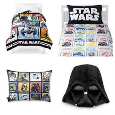 Star-Wars-Classic-Complete-6-Piece-Twin-Bed-in-a-Bag-Reversible-Comforter-3-Piece-Sheet-Set-Characters-Bed-Pillow-Darth-Vader-Cuddle-Pillow-0