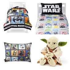 Star-Wars-Classic-Complete-6-Piece-Twin-Bed-in-a-Bag-Reversible-Comforter-3-Piece-Sheet-Set-Characters-Bed-Pillow-Yoda-Cuddle-Pillow-0