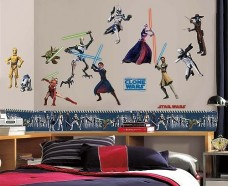 Star-Wars-Clone-Wars-Cuddly-Wrap-Blanket-and-28pc-Wall-Sticker-Set-0-3