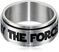 Star-Wars-Jewelry-Mens-May-The-Force-Be-with-You-Stainless-Steel-Spinner-Ring-Size-9-0