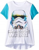 Star-Wars-Big-Girls-Storm-Trooper-Tee-with-High-Low-Hem-and-Contrast-Sleeve-WhiteTeal-Medium-0