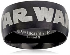 Star-Wars-Jewelry-Mens-Black-Star-Wars-Logo-Stainless-Steel-Ring-Size-9-0