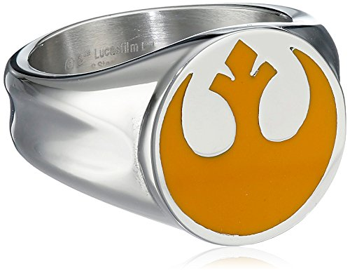 Star-Wars-Jewelry-Mens-Yellow-Rebel-Symbol-Stainless-Steel-Ring-Size-11-0